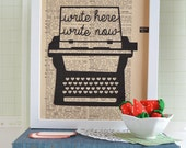 Literary Gift - Writer Gift - Book Art - Book Lover Gift Idea - Typewriter Art - Art on Vintage Dictionary Page