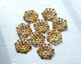 Brass Ornate Flower Petal Jewelry Findings, Package 10