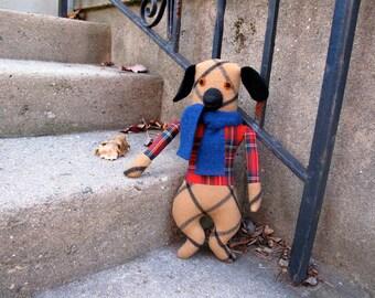 Dog doll boy in Plaid wool