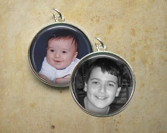 Double Sided Custom Photo Pendant - 1 Inch Round - Personalized