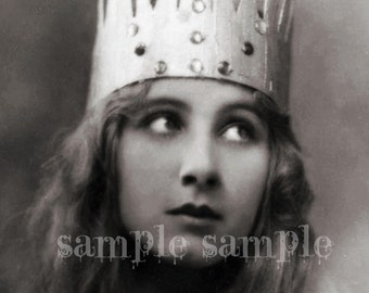 COLLAGE SHEET instant Digital DownloadScan - Vintage photograph - Princess Crown- Antique FRENCH Postcard