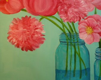 Peony painting, peony acrylic painting canvas art, Large flowers painting, Peony 18 x 24 big peony wall art, peony artwork, floral artwork