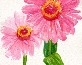 Zinnias watercolors  painting, Original pink zinnia watercolor flowers, small zinnia artwork, original painting of pink zinnias floral