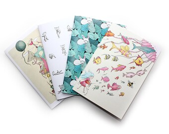Notebook sketchbook A6/A5 handmade yoga cats sewing craft fish zen ice cream bunny cat stocking stuffers stocking fillers
