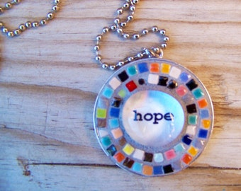 Mosaic Round Art Pendant with Chain Colorful Hope