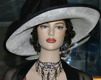 "Kentucky Derby Hat Titanic Hat Edwardian Hat Ascot Hat Downton Abbey Hat ""Titanic Star"" Curved Brim Sinamay Wide Brim Hat Womens"