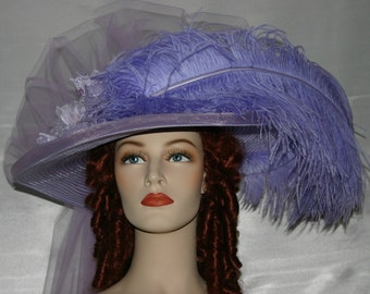 Ascot Hat Kentucky Derby Hat Wide Brim Tea Hat Titanic Hat Somewhere in Time Hat Downton Abbey Hat Edwardian - Lavender Lily Crystal Fairy