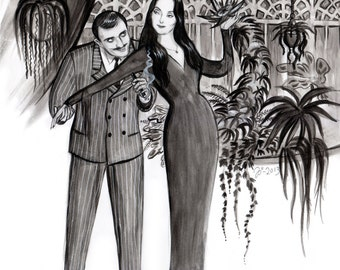 Large Addams Family art print by Johanna Öst