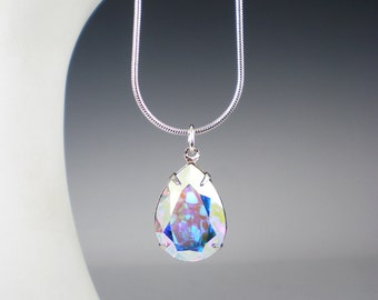 Crystal Aurora Borealis Rhinestone Necklace Swarovski Wedding Jewelry Bridesmaid Necklace