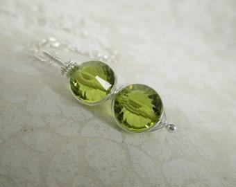 Wirewrapped Olivine Vintage Swarovski Crystal Double Ajna Pendant Necklace