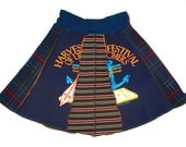 Dulcimer Lovers upcycled Tee Skirt Med Large womens tshirt skirt navy blue plaid red blue yellow striped upcycled clothing california music