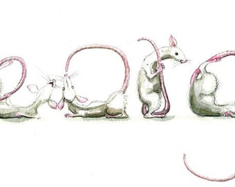 Your Name in Rats! - Custom original artwork in Spelling Animals - rodents, mice etc will spell any name for you.