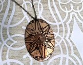 Long Necklace REVERSIBLE with Large Compass / Sun Print on Antique Raw Brass