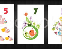 """Printable """"Number 1-10"""" nursery original art print perfect for a little boy or a little girl's room."""