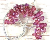 Tree of Life Pendant Rhodolite Garnet Silver Wire Wrapped Jewelry January Birthstone Necklace Pink Raspberry Cherry Blossom Tree