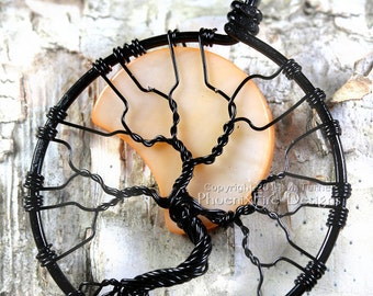 Halloween Jewelry Tree of Life Crescent Moon Harvest Moon Pendant Black Wire Orange Moon Spooky Tree Wire Wrapped Style Waxing Waning Moon