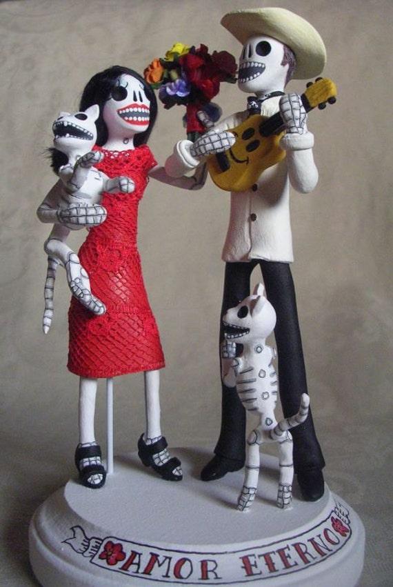 custom day of the dead wedding cake topper skeleton bride groom
