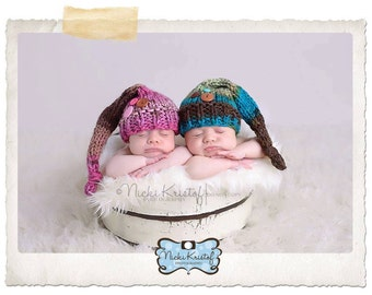 Twin Set - Buttons and Knots Newborn Stocking Hat Twin Photography Prop brown pink blue green