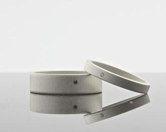 Sterling Silver Matte Finish Diamond Ring Set - Matching Wedding Bands - Black Diamond - White Diamond - Minimalist Jewelry - Artisan Made