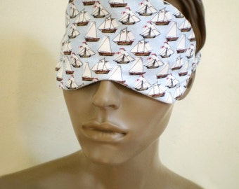 Summer Sleep Mask Sail Boats On Blue With Anchor Print Back All Cotton Luxury Padded Eye Mask