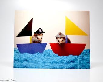 Cute Pirate and Sailor Hedgehogs Postcard, set of 2, Alasdair & Magoo sail the twee