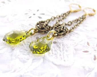 Crystal Baroque Green Earrings, Trellis Art Nouveau Earrings, Antique Gold Earrings, Crystal Drop Earrings, Green Drop Earrings