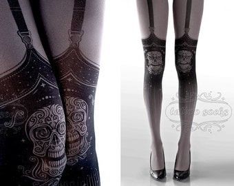 Tattoo Tights,  Day of the Dead garters print Asphalt thigh highs illusion one size full length closed toe printed tights pantyhose