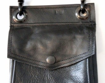 Black on Black Leather Hip Pouch- Belt Pouch- Mapcase Bag  Made to Order - by Darkwear Clothing