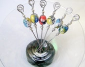 Blue Yellow Red and Black Glass Beaded Stainless Steel Cocktail Appetizer Picks Set of 6