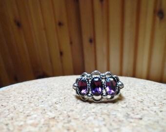 Avon Amethyst Gemstone Ring in a Silvertone Setting Size 7