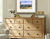 Beach Bikes Wellfleet | Cape Cod watercolor PRINT | beach landscape painting | sea green sky blue | Wellfleet Cape Cod