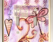 Double Toggle Light Switch Plate - Red, Pink Purple Dragonfly, Dangling Heart on Sheet Music