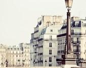 "Paris Lamp Post and Bridge, Paris Photography, Pale White and Beige, Neutral French Wall Decor, Seine, ""Alabaster"""