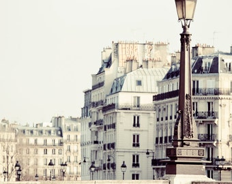 "Paris Lamp Post and Bridge, Paris Photography, Pale White and Beige, Neutral French Wall Decor, Seine, ""Alabaster"""