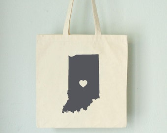 INDIANA LOVE Tote Indianapolis gray state silhouette with heart on natural bag