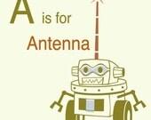 Robot Alphabet Print - A is for Antenna, robot nursery decor, baby boy gift, robot wall art, alphabet art, letter A art