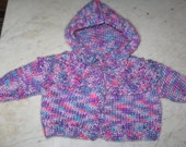 Newborn Knit Sweater With Hood and Ties Multicolored Purple Pink