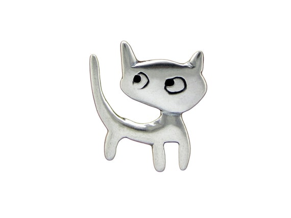 Love Kitten Necklace - Sterling Silver Cat Pendant