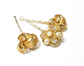 Nostalgic Wedding No.60 - Vintage Jewel Hair Pin Collection for the Bride or Special Occasion, Gold, Pearl and Czech Glass