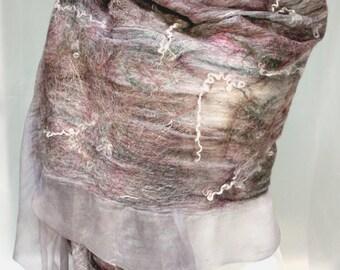 Felt Wool Shawl-Scarf earthtone sheer cashmere-soft nuno merino silk fiber art