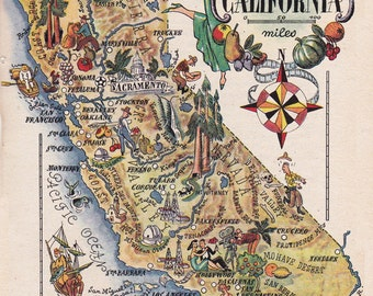 map of California from 1946, vintage printable digital download no. 1702