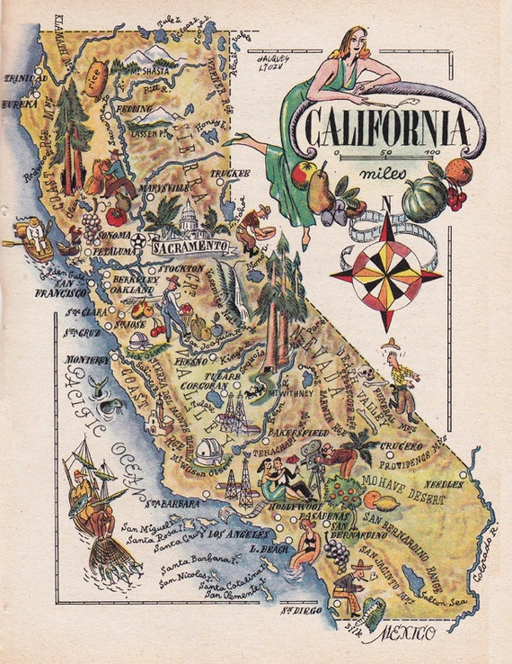 map of California from 1946 vintage printable digital