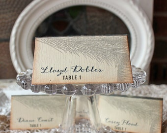 Wedding Reception Tented Place Cards Rustic Pine Vintage Woodland  Cable Knit Sweater Plaid