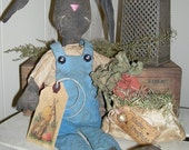 Primitive Spring Easter Bunny Henry Rabbit Black Doll with Carrot bag EPATTERN pattern