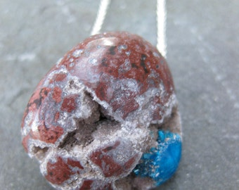 cerulean blue PENTAGONITE crystals in matrix sterling necklace