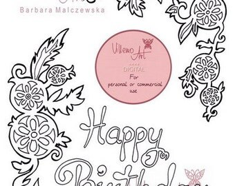 Digital stamp - Villemoart - HAPPY001 - Printable DIY Happy Birthday Card Design