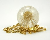 Large Gold Necklace with Dandelion, Large Dandelion Round with Gold Plated Sterling Silver Chain, Dandelion Jewelry, Botanical Jewelry