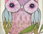 Owl Art Print - purple and blue -watercolor painting of an owl-  archival, limited edition print - 8 x 10 inche by cori dantini