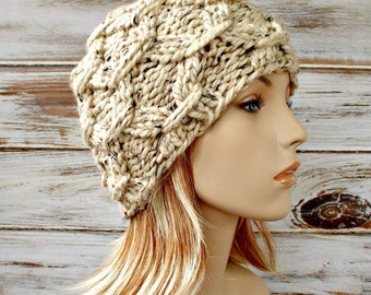 Womens Knit Hat - Beatrix Beanie Tweed Oatmeal - Oatmeal Hat Oatmeal Beanie Womens Accessories Fall Fashion Winter Hat