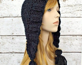 Knitting Pattern Hood With Ears : Items similar to Womens Hat Crochet Hood Tassel Hat in ...